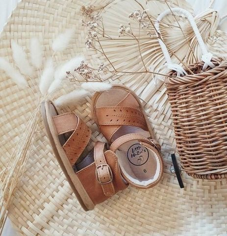 Little Mazoes Madison Sandal Brown Wax Leather