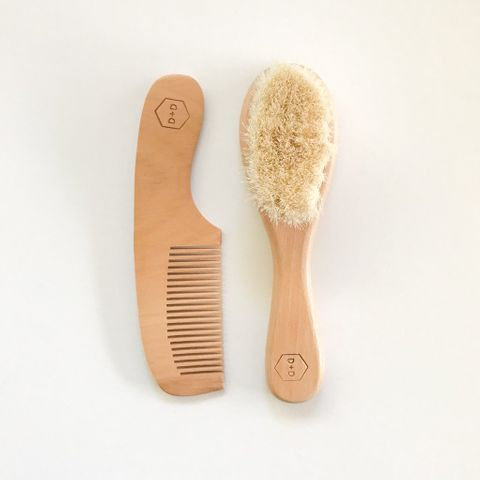 Dove and Dovelet Wooden Baby Brush and Comb Set
