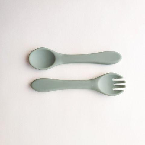 Dove and Dovelet Silicone Cutlery Set Sage