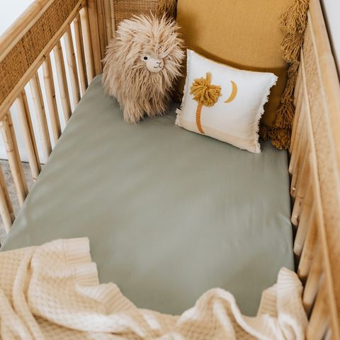 Snuggle Hunny Kids Sage Fitted Cot Sheet