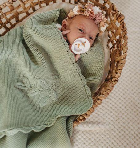 Pop ya tot Embroidered Blanket Pistachio