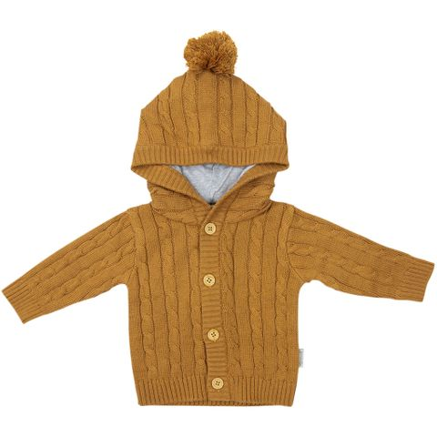 Korango Rustic Class Lined Cable Knit Jacket Brown