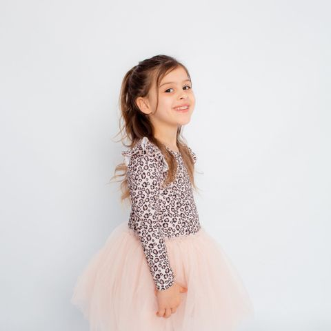 Little Hearts Leopard LS Tutu Dress