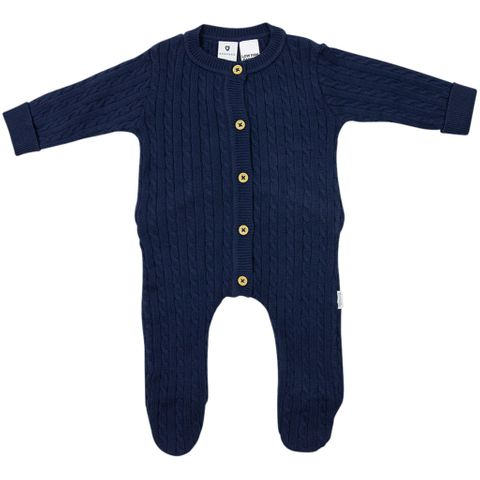 Korango Rustic Class Lined Cable Knit Romper Navy