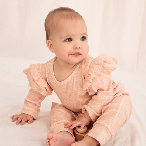 India & Grace Ruffle LS Suit Dusty Pink Floral