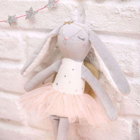 Albetta Grey Velvet Heart Bunny