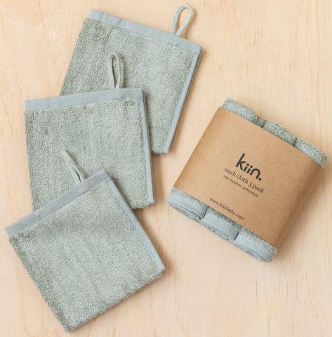Kiin Baby Wash Cloth 3 Pack Sage