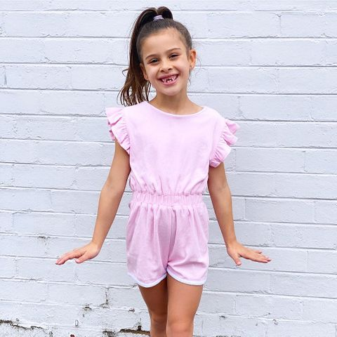 Little Hearts Terry Frill Playsuit