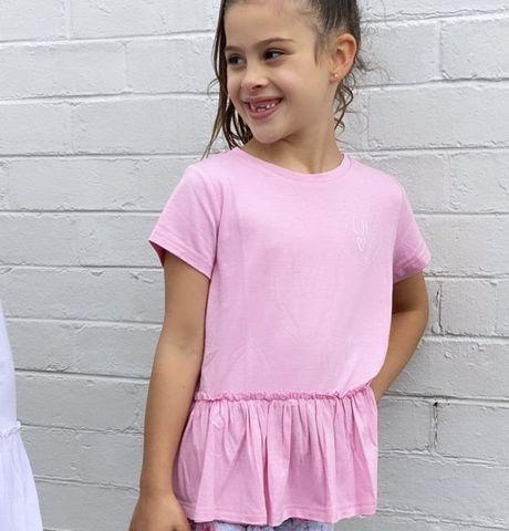 Little Hearts Pink Peplum T Shirt