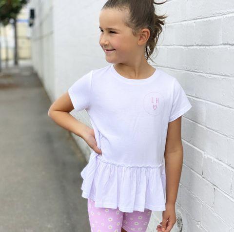 Little Hearts White Peplum T Shirt