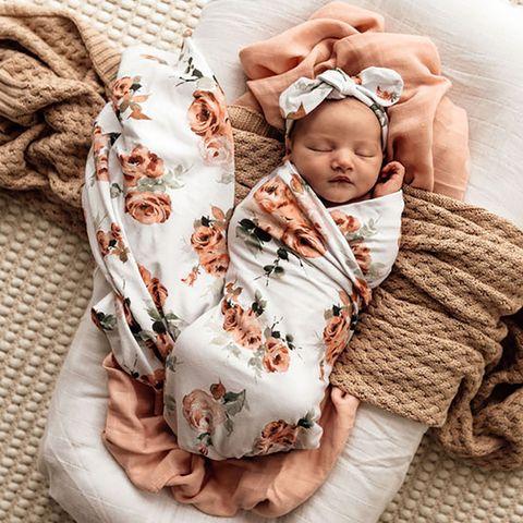 Snuggle Hunny Kids Jersey Wrap & Topknot Rosebud