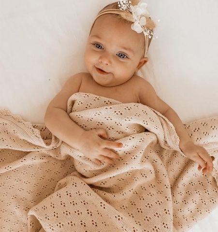 Little Bs Vintage Pointelle Blanket Honey Milk