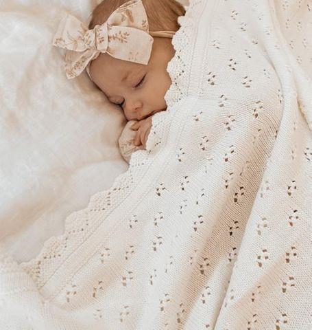 Little Bs Vintage Pointelle Blanket Milk