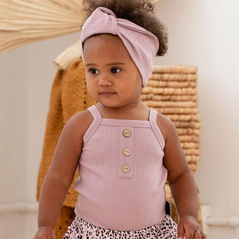 Kapow Kids Lilac Rib Singlet Bodysuit