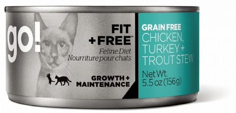 GO! Cat Wet Fit & Free Grain Free Stew Chk, Turk, Trout 156g