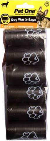 Pet One Waste Bags - 12pk Biodegradable