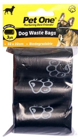 Pet One Waste Bags - 3pk Biodegradable