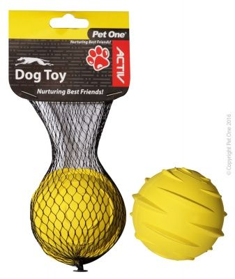 Pet One Active Toy Rubber Ball Yellow
