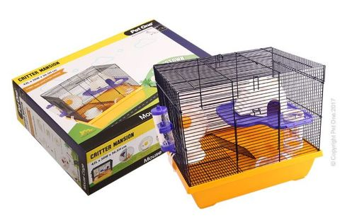 Critter Mansion Mouse Wire Cage White/Yellow