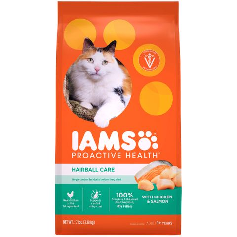 IAMS Cat Healthy Adult Hairball Chicken/Salmon 3.18kg