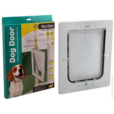 Pet One Dog Door Poly Med Glass Sng