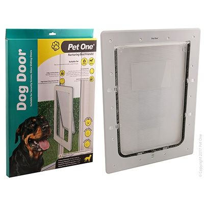 Pet One Dog Door Poly Lge Glass Sng