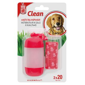 Dogit Waste Bag & Holder Red