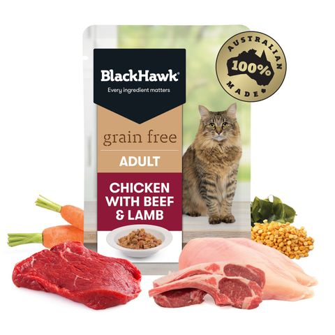 Black Hawk Cat Adult Chicken, Beef & Lamb 85g Sachet