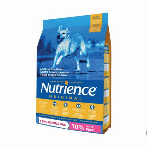 Nutrience Dog Original Adult Med Breed 13.6kg + 10% FREE