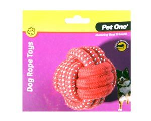 Pet One Dog Rope Ball 8cm - Red/Blue