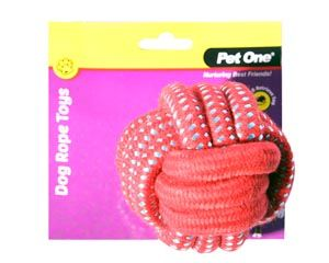 Pet One Dog Rope Ball 10cm - Red/Blue