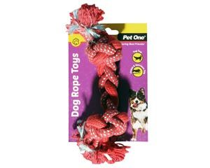Pet One Dog Braided Rope with Knots 20cm - Red/Blue