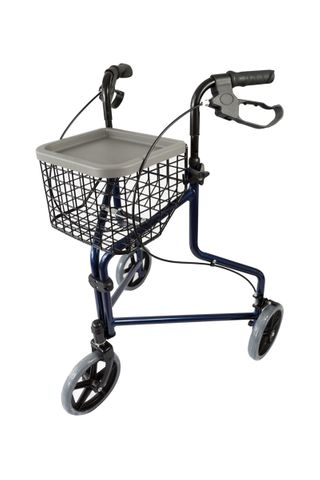 Peakcare Aluminium Blue tri-wheel walker with basket and tray