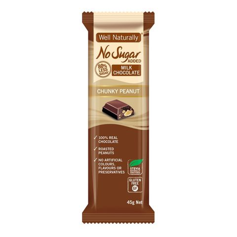[] Well Naturally No Sugar Added Chunky Peanut Milk Chocolate Bar - 16 x 45g (Refrigerated)
