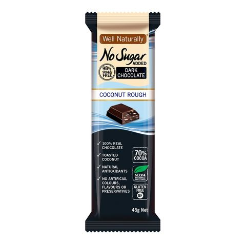 [] Well Naturally No Sugar Added Coconut Rough Dark Chocolate Bar - 16 x 45g (Refrigerated)