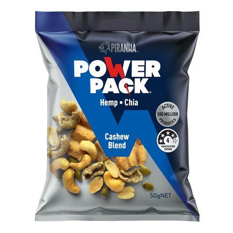 Piranha Power Pack Cashew Blend Snack Mix (Nuts, Seeds & Multigrain Hemp Soy) - 50g
