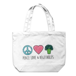 [] (Product is Deleted) Peace Love Vegetables Cotton Tote Bag (Refrigerated)
