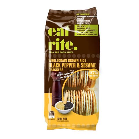 Eatrite Brown Rice Crackers with Black Pepper & Sesame Seeds - 100g