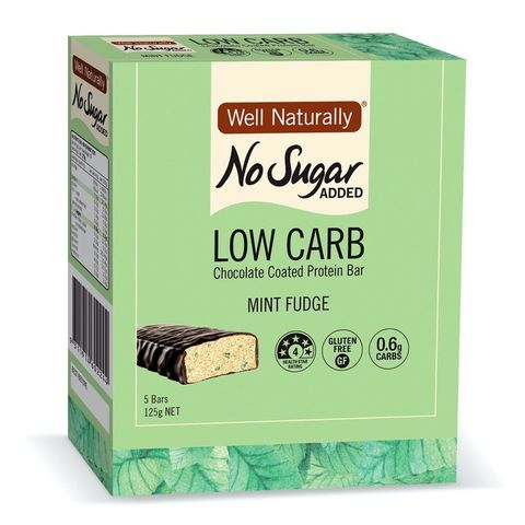 [] Well Naturally No Sugar Added Mint Fudge Low Carb Protein Bar - 5 x 25g (Refrigerated)