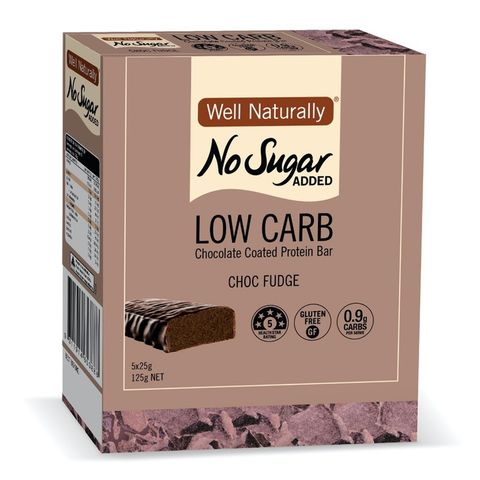 [] Well Naturally No Sugar Added Chocolate Fudge Low Carb Protein Bar - 5 x 25g (Refrigerated)
