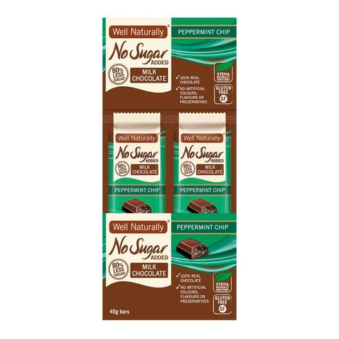 [] Well Naturally No Sugar Added Peppermint Milk Chocolate Bar - 16 x 45g (Refrigerated)