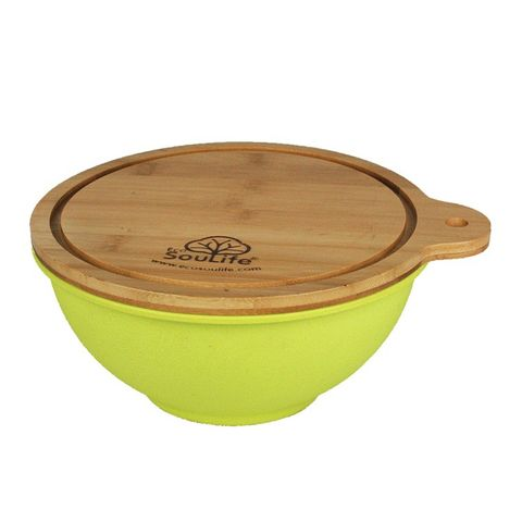 EcoSouLife Bamboo Salad Bowl w/ Cutting Board Lid Small - Lime