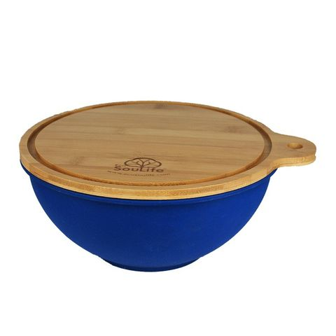 EcoSouLife Bamboo Salad Bowl w/ Cutting Board Lid Small - Sky Blue