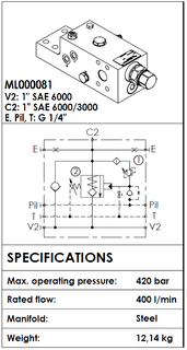 "ML000081  O/CENTRE VALVE DUAL MNT 1"" 61-62 90DEG 400LT 420BAR"