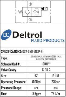 DSV-080-2NCP-N  SOLENOID CARTRIDGE  N.C. POPPET