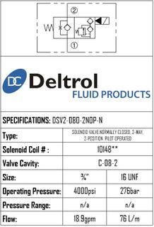 DSV2-080-2NOP-N  SOLENOID CARTRIDGE  N.O. POPPE