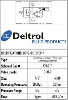 DSV2-100-2NOP-N  SOLENOID CARTRIDGE  N.O. POPPE