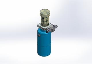 24v DC FAN ASSISTED 7L/min 10-200bar 9.0L ROUND tank / vertical mount / 1 x valve