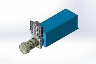 24v DC FAN ASSISTED 7L/min 10-200bar 20.0L SQUARE tank / horizontal mount / 4 x valve