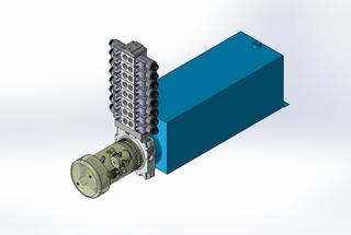 24v DC FAN ASSISTED 7L/min 10-200bar 20.0L SQUARE tank / horizontal mount / 8 x valve